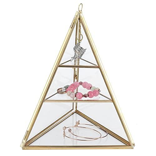 FOLOSAFENAR Soporte para Pendientes, Pared Transparente de Metal + Soporte de exhibición de joyería de Vidrio, Organizador de joyería de 3 Capas para Almacenamiento, exhibición para decoración