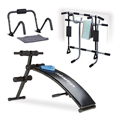 Relaxdays Sit Up Bank Bauchtrainer, klappbar, 6-fach verstellbar, gepolstert, Rückentrainer, Trainingsbank, schwarz
