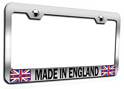 Makoroni - Made in England British England Ch Steel Auto SUV License Plate Frame, License Tag Holder