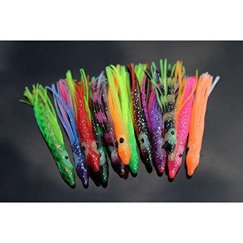 Tigofly 12 Stück 6 cm UV Gummi Tintenfisch Röcke weiche Octopus Angelköder Thunfisch Segel Fisch Köder künstliche Köder
