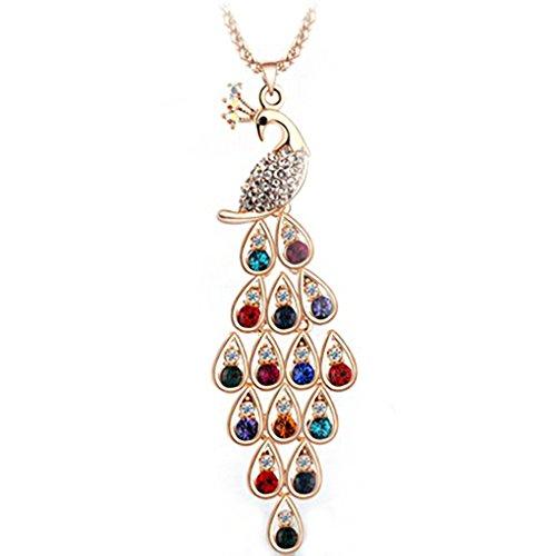 Bunte Frauen Peacock Princess Kristall Lange Strickjacke-Ketten-Anhänger-Halskette Deinbe