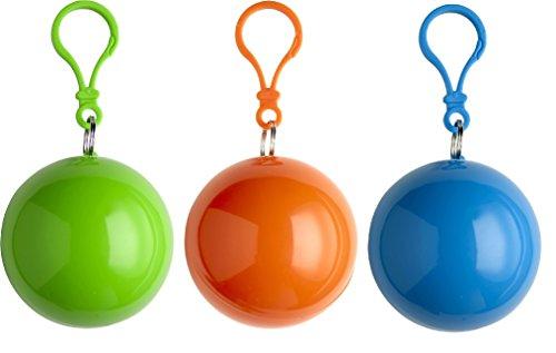 sinsey 3er Set Poncho Notfall-Poncho Regencape Regenponcho (apfelgrün - orange - blau)