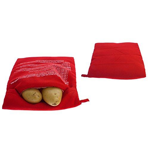 Smartfox 2X Kartoffel-Kochtasche Kochschlauch Gartasche Kochbeutel Tasche Beutel für die Mikrowelle in Rot