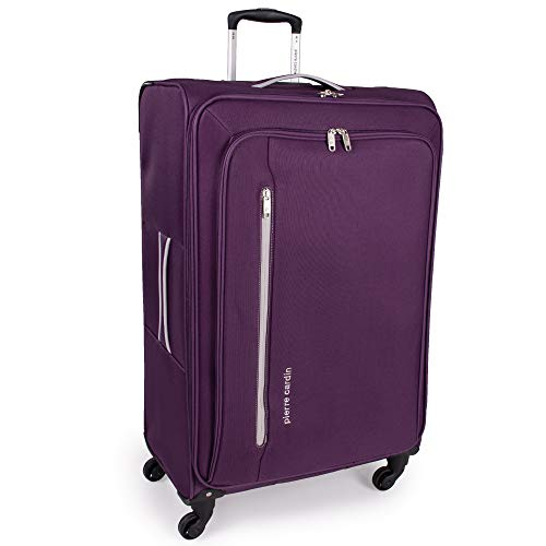 Soft Shell 31 Inch Suitcase with x4 Spinner Wheels - Cion Soft Case by Pierre Cardin | Quality Tested Soft Sided Luggage | Weighing 2.9 Kg 79cm Large 104 litres Cap (Large, Purple & Light Grey)