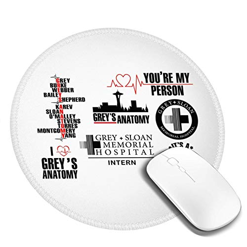 Greysanatomy Greys Anatomy Mouse Pad,Anti Slip Rubber Round Mousepads Desktops Gaming Mouse Mat Customized Designed for Home and Office,7.9x7.9 in 1 Pcs