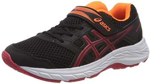 Asics Unisex-Child Contend 5 PS Running Shoe, Black/Speed Red, 33 EU