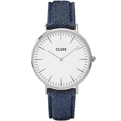 Cluse Unisex Erwachsene Digital Quarz Uhr mit Leder Armband CL18229