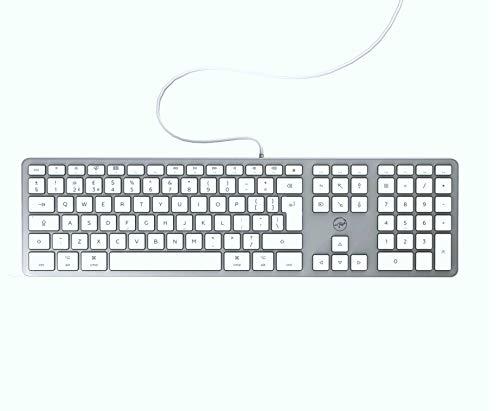 Mobility Lab Clavier anglais QWERTY filaire pour Mac – blanc et argenté