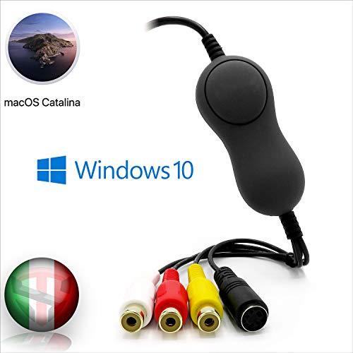 TechSide Convertitore VHS Analogico Digitale Nuova Versione Mac/PC 2020 contatti Dorati | Compatibile MacOs Catalina Mojave + Windows 10 | USB 2.0 Aud