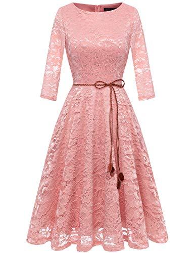 bridesmay Damen Spitzenkleid 3/4 Ärmel Prinzessin Blumen Abendkleid Brautjungfernkleider Blush L