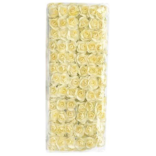 HGDD 12/72 / 144pcs gefälschte Mini Artificial Papier-Rosen-Blumen-Blumenstrauß for Hochzeit Dekoration Handwerk DIY Scrapbooking Kranz Craft (Color : Milk White, Size : 12pcs)