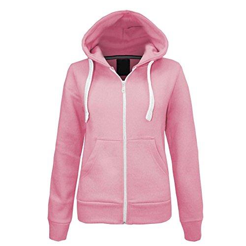 xpaccessories Kids Plain Hoodie Front Zip Up Long Sleeve Fleece Sweatshirt 7 8 Years Baby Pink