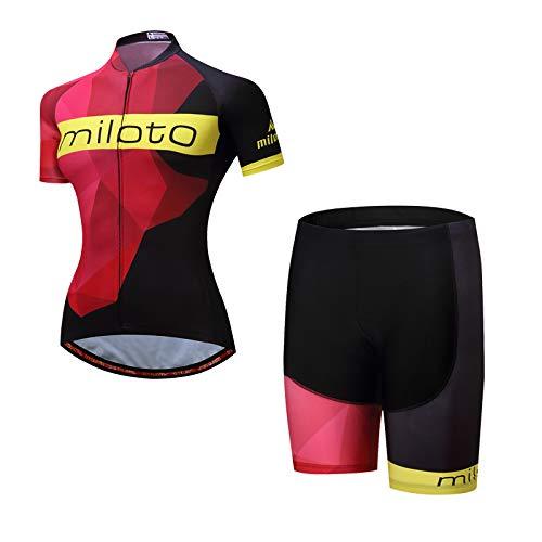 MILOTO Mujer Maillot Ciclismo Manga Corta de Bicicleta Conjunto de Ropa (Rojo, M)