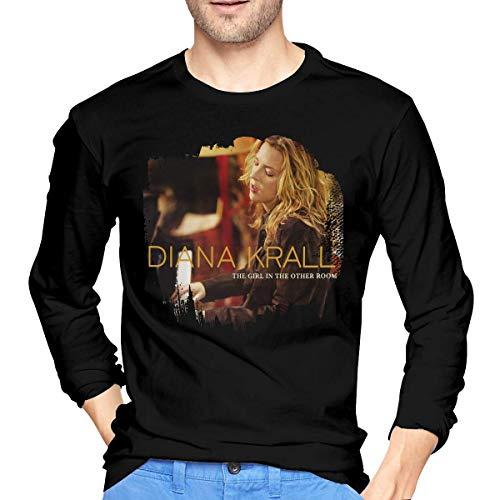 fenglinghua Langärmliges Herren-T-Shirt Men's Diana Krall The Girl in The Other Room Long Sleeve Tees Black Casual Tee Tops