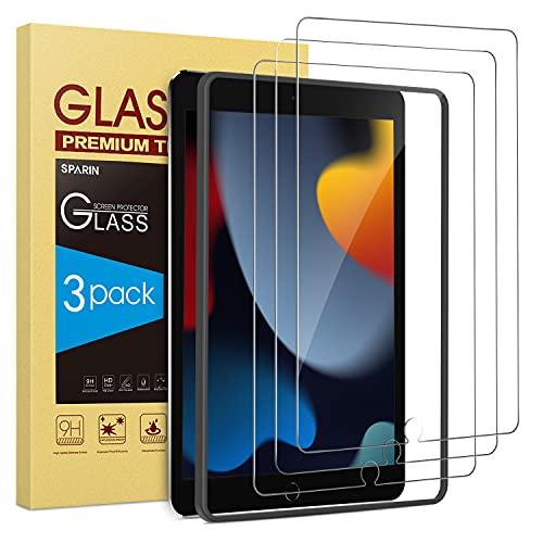 SPARIN 3 Stück Panzerglas Kompatibel mit iPad 9. Generation & iPad 8. / 7. Generation 10,2 Zoll Schutzfolie 2021/2020/2019, 9H-Festigkeit Bildschirmschutzfolie, mit Montagerahmen