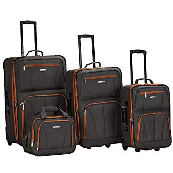 Rockland Journey Softside Upright Luggage Set Charcoal 4-Piece  14/19/24/28