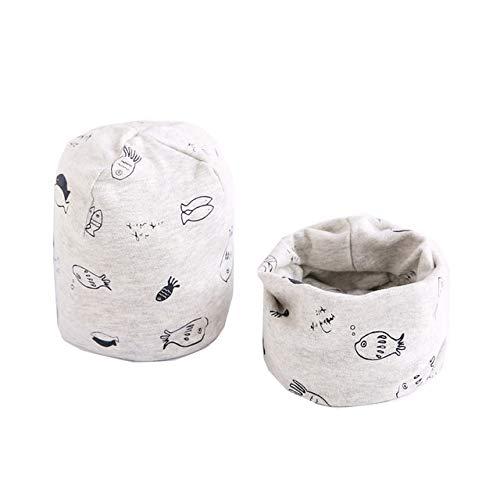 Baby Cap Set Cartoon Baby Kopfbedeckung Frühling Warm Halskragen Kinder Mützen Sets Baumwolle Kinder Hüte Schal-a32-0-6 Months