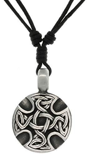 Jewelry Trends Celtic Medallion Pewter Pendant Necklace Adjustable Black Cord