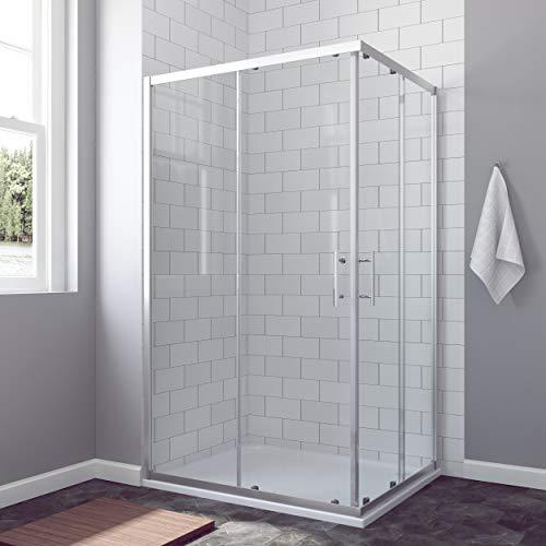 AQUABATOS® 120 x 90 cm Duschkabine Eckeinstieg Schiebetür Duschabtrennung Duschwand Glas ESG nach DIN EN 12150 Höhe 185cm