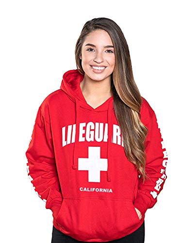 LIFEGUARD Officially Licensed Ladies California Hoodie Sweatshirt Apparel for Women, Teens and Girls, Medium, Red
