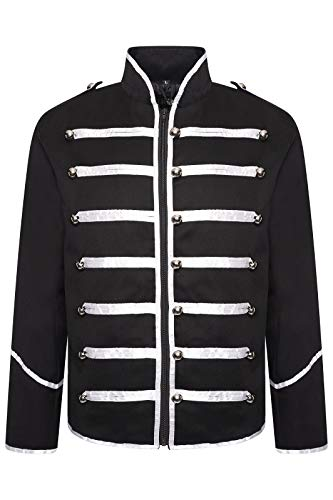 Ro Rox Men's Military Marching Band Drummer Music Festival Parade Jacket - Black & Silver (L)