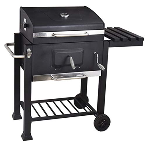 Charcoal Grill BBQ Smoker Grill Portable Collapsible Camping Grill for Outdoor Picnic, Patio Backyard Cooking, with Cover, Corkscrew, Thermometer, Side Table And Wheels, Black
