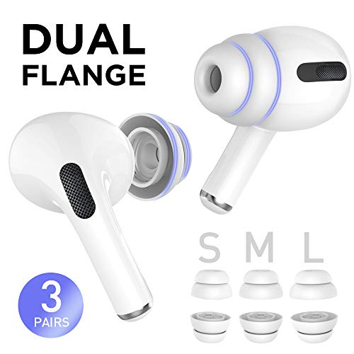 Delidigi 3 Pairs AirPods Pro Replacement Ear Tips Double Flange Silicone Earbuds Earplug Accessories Compatible with AirPods Pro 2019(Small&Medium&Large, White)