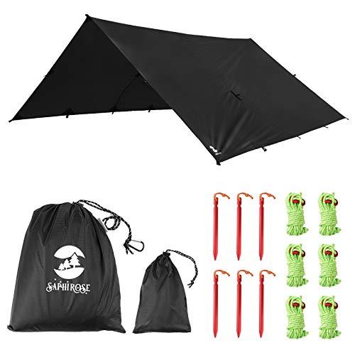 Toldo Impermeable Lona para Tienda de Campaña Ligero Anti-Viento Anti-UV Toldo de Refugio Camping con 6 Estacas + 6 Cuerdas 305cm*367cm Negro ✅