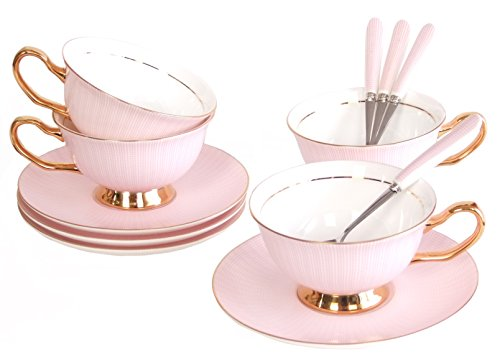 NDHT Set of 4 Bone China Teacups/Coffee Cups & Saucers Sets with Spoons-10.2Oz, for Home, Restaurants, Display & Holiday Gift for Family or Friends,Pink,With Two Gift Boxes