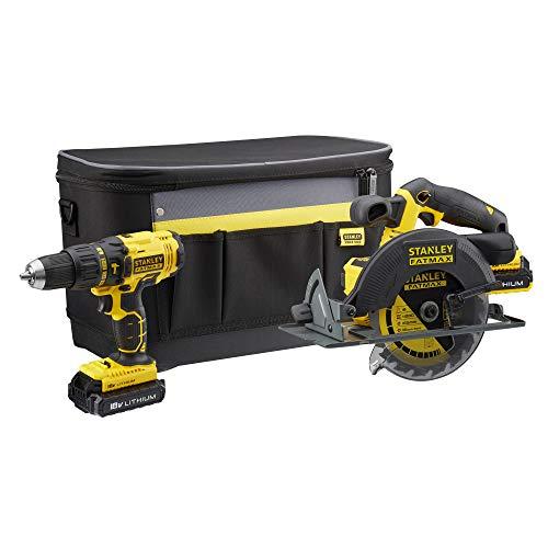 STANLEY FATMAX FMCK462D2S-QW - Taladro percutor y sierra circular 18V con 2 baterías de litio 2Ah y bolsa para herramientas