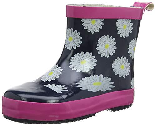 Playshoes Kinder Gummistiefel aus Naturkautschuk, trendige Unisex Regenstiefel mit Reflektoren, mit Blumen-Motiv, Blau (marine/pink 372), 18 EU