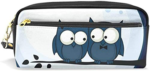 Geldbörse Nette Eule Cartoon Mond Bleistift Federmäppchen Doppelreißverschluss große Make-up Kosmetik Schreibwaren Aufbewahrungstasche Tasche Mädchen Jungen Frauen