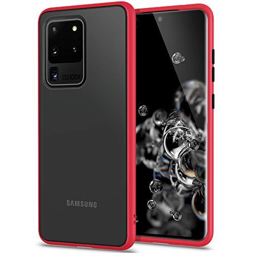 YATWIN Funda Samsung Galaxy S20 Ultra 5G, Funda Protectora Parte Posterior de PC Dura Translúcida Mate, Botones Coloridos, Topes Flexible de TPU para Carcasa Samsung S20 Ultra 5G 6.9''- Rojo