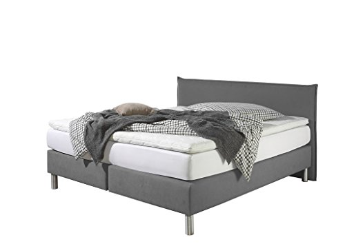 Maintal Boxspringbett Point, 100 x 200 cm, Stoff, 7-Zonen-Kaltschaum Matratze h2, Grau