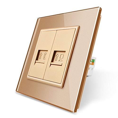 LIVOLO telefoon en computer doos met glazen deksel VL-C7-1TC-13 VL-C7-SR-13 Gold