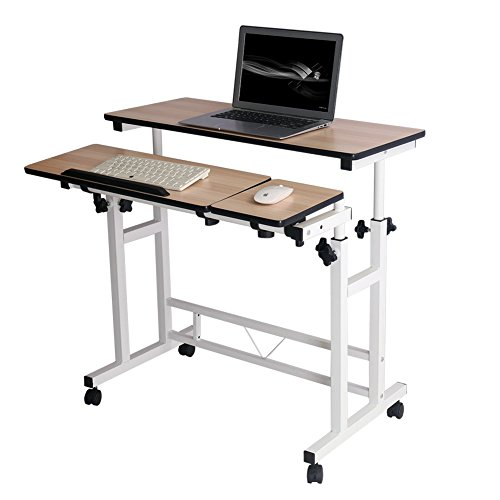 Mobile Stand Computer Workstation Rolling Adjustable Computer Laptop Desk Corner Desk from Poarmeey (White)