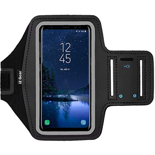 i2 Gear Cell Phone Armband for Running - Workout Phone Holder Case with Adjustable Arm Band Sleeve for Samsung Galaxy S10, S9, S8 and iPhone 12, 11, X, XS, XR - Black