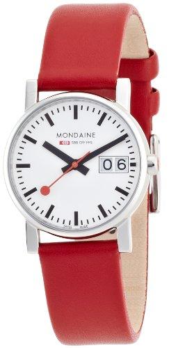 Mondaine SBB Evo Big Date 30mm A669.30305.11SBC Reloj de pulsera Cuarzo Mujer correa de Cuero Rojo