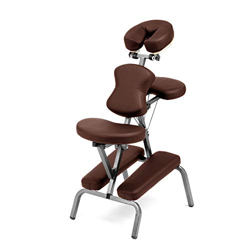 Ataraxia Deluxe Portable Folding Massage Chair w/Carry Case & Strap - Brown