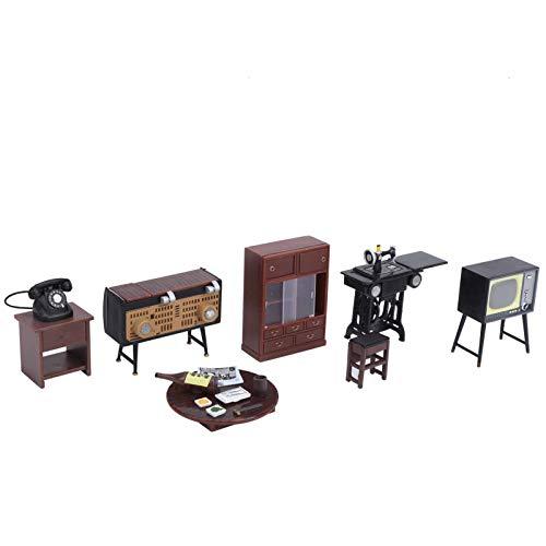Wosune Máquina de coser Dollhouse, interacción social 1:18, muebles de casa de muñecas, cómoda y suave, para educación infantil en casa