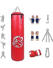 Set hangende Bokszakken - Bokszakken voor Volwassenen, hoogwaardig PU-leer, Kickboksen in Vechtsporten, Muay Thai, MMA-Training, Stootzandzak voor Boksfitness (Geen vulling)