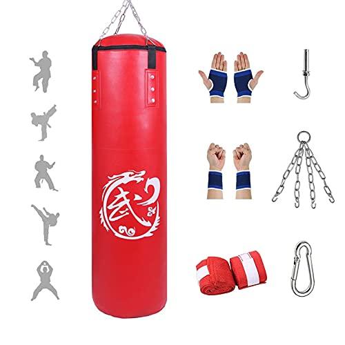 Saco de Boxeo Set para Colgar - Material de Cuero PU, Sacos de Boxeo para Adultos, Artes...
