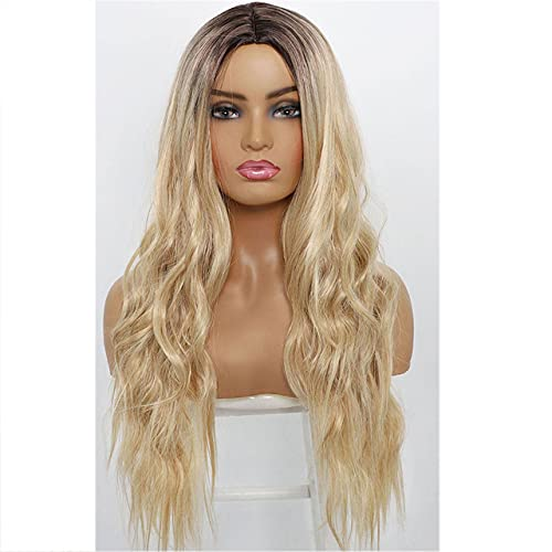 Synthetic Long Wavy Wigs For  Hair Care Black Women Ombre Pink Blonde Highl
