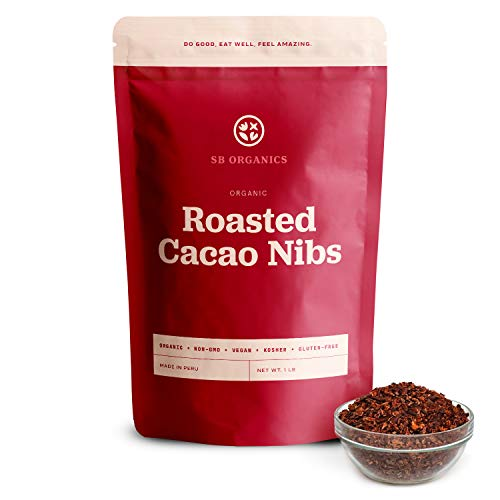 SB Organics Roasted Cacao Nibs Organic - 16 oz Bag of Non-GMO Vegan Kosher Unsweetened Cocoa Nibs from Peru - Free of Gluten, Dairy, Soy, and Sugar