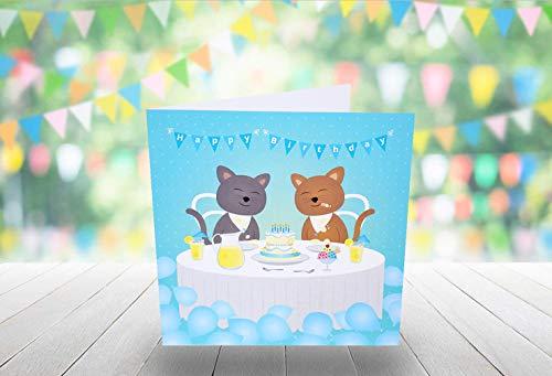 Homo Verjaardagskaart - Kat Theekaartje - 150mm x 150mm (Square Card)
