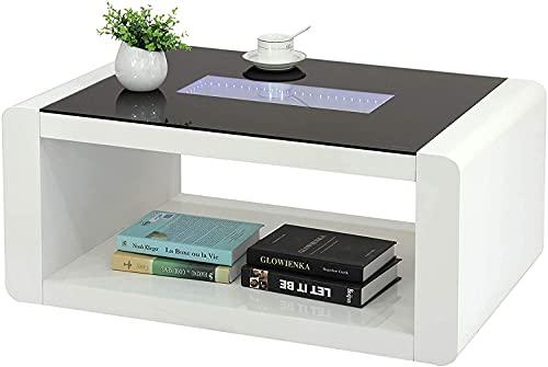 Mesa de centro de cristal ultra moderna y de alto brillo con...
