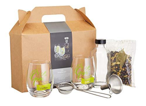 BarCraft, Gin-Zubereitungsset in Geschenkbox mit Allem, was Sie Brauchen, um Ihren Eigenen Gin zu Hause Zuzubereiten, 6 Stück