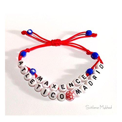 DUO Nombre original del apellido de la pulsera MAXENCE ATLETICO ⚽️ MADRID (reversible, personalizable) hombre, mujer, niño, bebé, recién nacido.