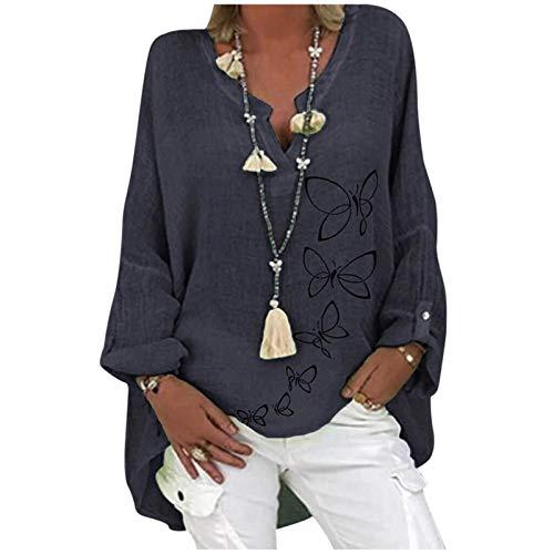 XiuLi Blusa de Lino Blusa de Lino para Mujer Top de Manga Larga Tops Casuales con Cuello en V Túnica de Lino Camisa de algodón Suelta Camisa de Lino con Estampado (Color : Blue, Size : 5XL)