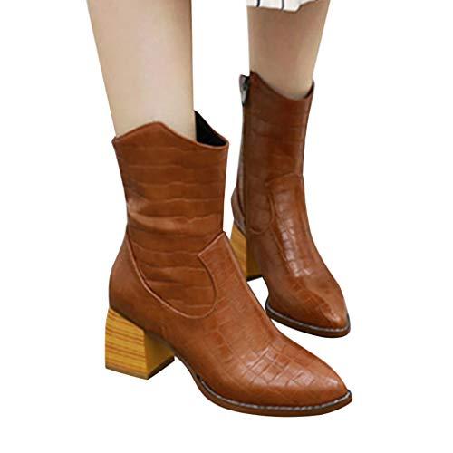 Fenverk Damen Stiefel Leder Plateau High Heel Schlupfstiefel Hoch Langschaftstiefel mit Blockabsatz Winter Schuhe Ankle Boots 6.5cm Gelb, Schwarz, Braun, Grau(Gelb,38 EU)